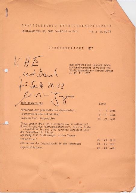 1977 Jahresbericht des Stadtjugendpfarrers